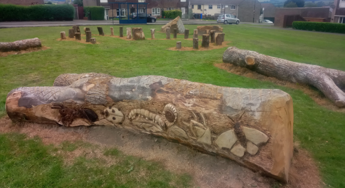 Cedar Road Pocket Park - log carving